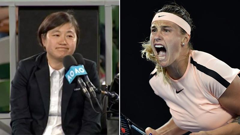 The chair umpire interjected after the crowd mocked Sabalenka's shrieks. Pic: Ch7/Getty