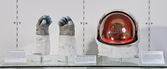 The extra-vehicular (EV) gloves and lunar visor assembly worn by Neil Armstrong on the surface of the moon are temporarily on display at the National Air and Space Museum's Steven F. Udvar-Hazy Center in Virginia in honor of his death.
