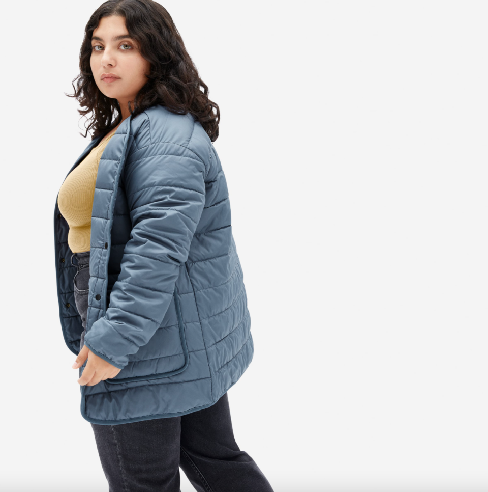 Everlane 'The ReNew' Channeled Liner in Blue Teal (Photo via Everlane)