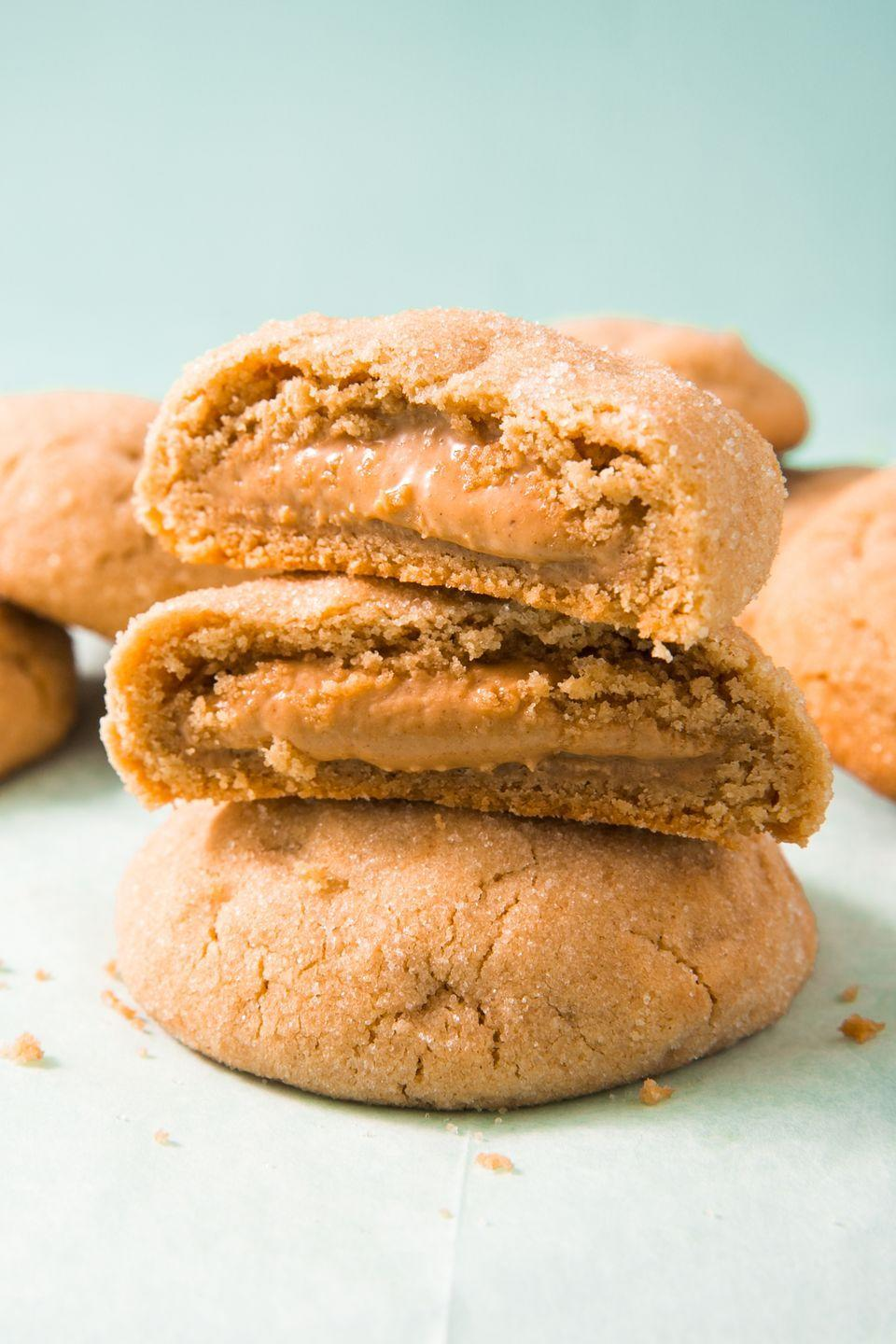 """<p>You'll be obsessed with this hack. </p><p>Get the recipe from <a href=""""https://www.delish.com/cooking/recipe-ideas/recipes/a51853/peanut-butter-stuffed-cookies-recipe/"""" rel=""""nofollow noopener"""" target=""""_blank"""" data-ylk=""""slk:Delish"""" class=""""link rapid-noclick-resp"""">Delish</a>. </p>"""