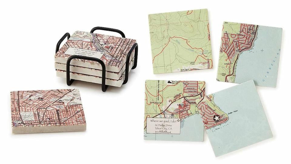 Best personalized gifts: Custom Map Coaster Set