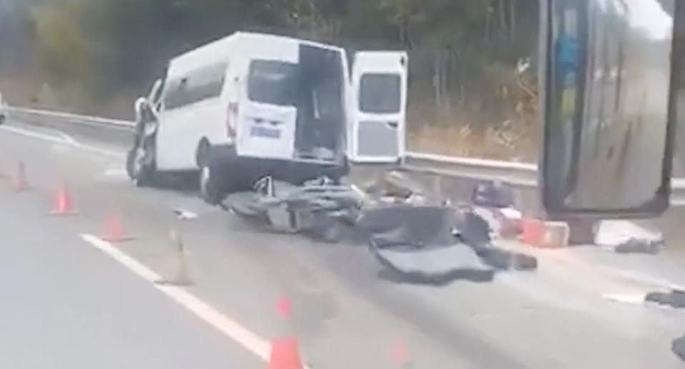 A still image from a video filmed at the crash site. The truck has been removed by authorities. Source: Xuanwo Video