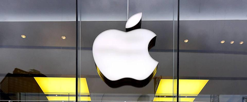 APPLE store and logo. Apple Inc. is an American multinational technology company headquartered in California.