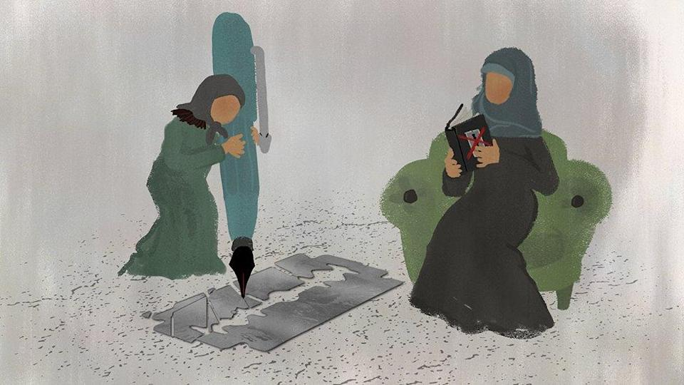 A young girl uses an oversized pen to destroy a razor while her mother reads to her from a book against FGM