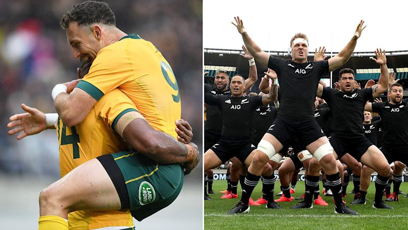 Pictured here, Wallabies players celebrate and the All Blacks conduct the Haka on the right.