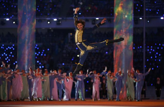 Dancer Danila Korusntsev performs during the opening ceremony of the 2014 Sochi Winter Olympics, February 7, 2014. REUTERS/Brian Snyder (RUSSIA - Tags: OLYMPICS SPORT)