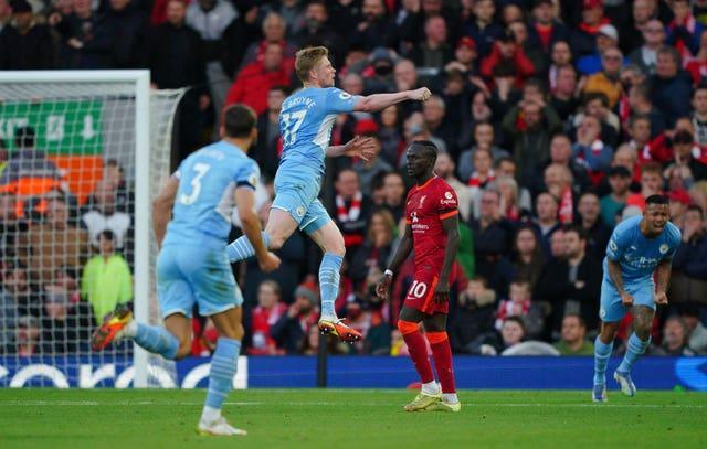 Kevin De Bruyne scored City's second equaliser in a thrilling contest