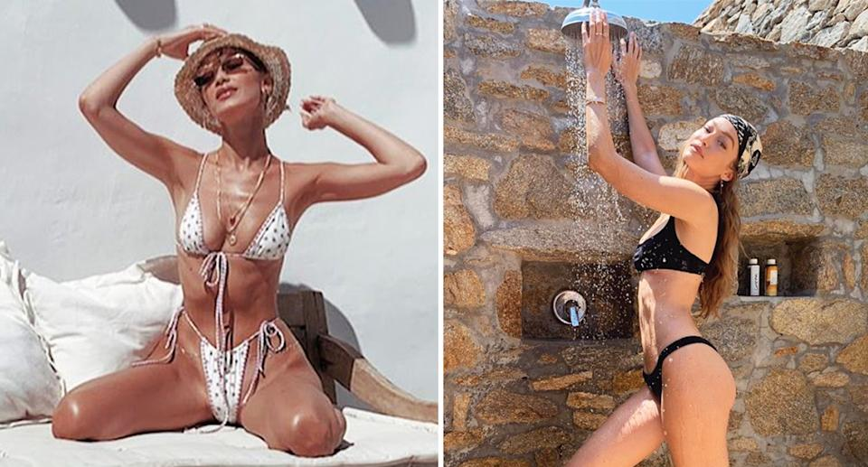Bella (left) and Gigi Hadid are wearing their thong swimwear with pride. [Photo: Instagram]