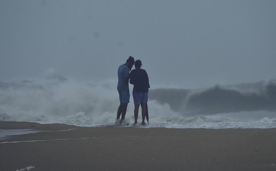 Rough sea due to strong winds at a coastal area before the landfall of Cyclone Nivar, in Mamallapuram, Wednesday,