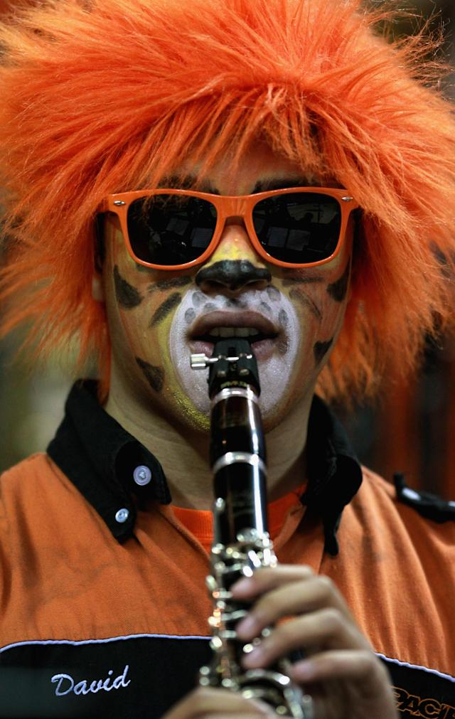 AUSTIN, TX - MARCH 22: A band member from the Pacific Tigers plays before the start of the game against Miami Hurricanes during the second round of the 2013 NCAA Men's Basketball Tournament at The Frank Erwin Center on March 22, 2013 in Austin, Texas. (Photo by Ronald Martinez/Getty Images)
