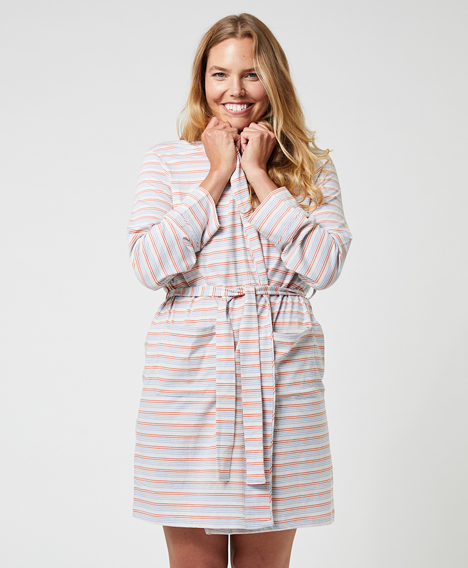 """<h2>Pact Pocket Robe</h2><br>This vibrant blue, orange, and yellow-stripped 100% organic cotton pocket robe is a little lighter than your typical terry-cloth styles, but it's just as soft. <br><br>One happy wearer verified, """"I love the stripes! I live in this on lazy weekend mornings. It's so soft, has pockets, and the length is perfect. I've washed it many times and it still looks as bright as when I got it.""""<br><br><strong>PACT</strong> Pocket Robe, $, available at <a href=""""https://go.skimresources.com/?id=30283X879131&url=https%3A%2F%2Fwearpact.com%2Fwomen%2Fapparel%2Fsleepwear%2Fpocket%2520robe"""" rel=""""nofollow noopener"""" target=""""_blank"""" data-ylk=""""slk:PACT"""" class=""""link rapid-noclick-resp"""">PACT</a>"""