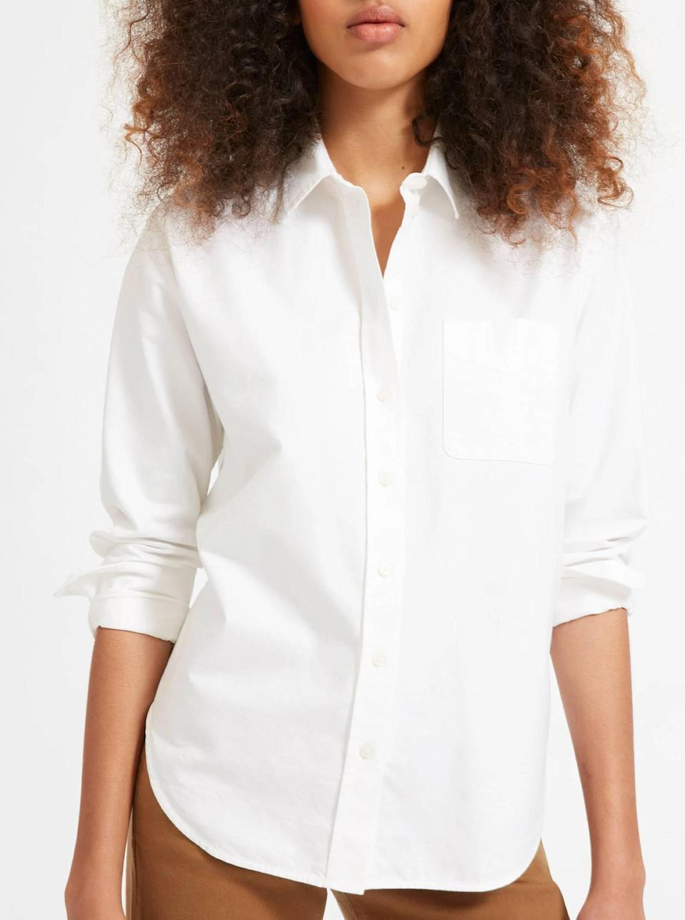 """$68, Everlane. <a href=""""https://www.everlane.com/products/womens-japanese-oxford-shirt-white"""" rel=""""nofollow noopener"""" target=""""_blank"""" data-ylk=""""slk:Get it now!"""" class=""""link rapid-noclick-resp"""">Get it now!</a>"""