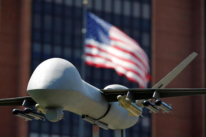 <p>A model of a military drone is seen in front of an U.S. flag as protesters rally against climate change, ahead of the Democratic National Convention, in Philadelphia, Pennsylvania, U.S., July 24, 2016. Dominick Reuter/Reuters)</p>