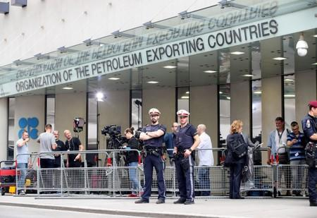FILE PHOTO: Police guard the headquarters of the Organisation of the Petroleum Exporting Countries