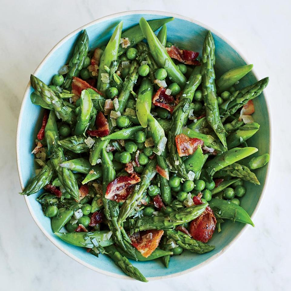 """<p>Fresh spring produce needs little embellishment, although a quick toss with <a href=""""https://www.myrecipes.com/t/pork/bacon"""" rel=""""nofollow noopener"""" target=""""_blank"""" data-ylk=""""slk:bacon"""" class=""""link rapid-noclick-resp"""">bacon</a> never hurts.</p>"""