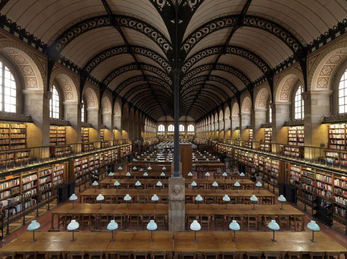<p>Bibliotheque Sainte-Genevieve, Paris, France. It contains more than two million documents and was the inspiration for the Boston Public Library. (Photo: Massimo Listri/Caters News) </p>