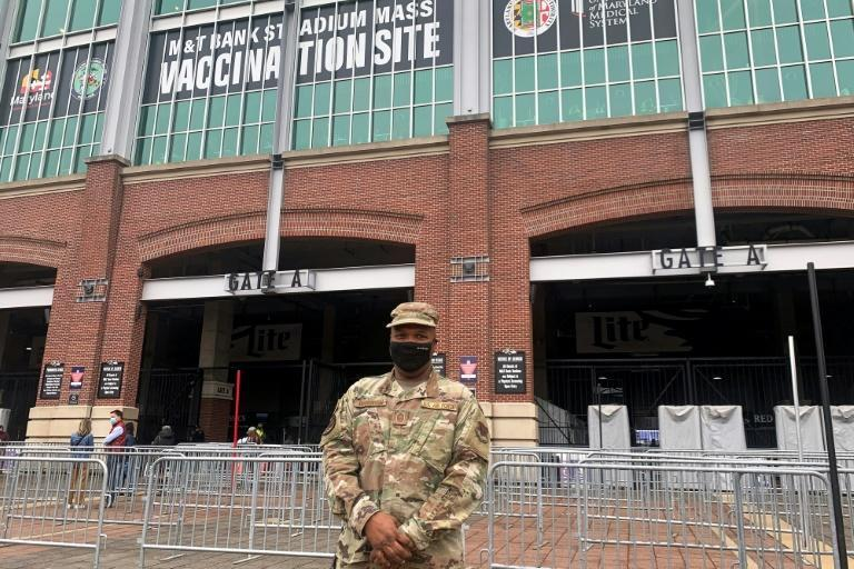 Sergeant David Yarborough, an Air Force chaplain, is overseeing the vaccination operation at M&T Bank Stadium