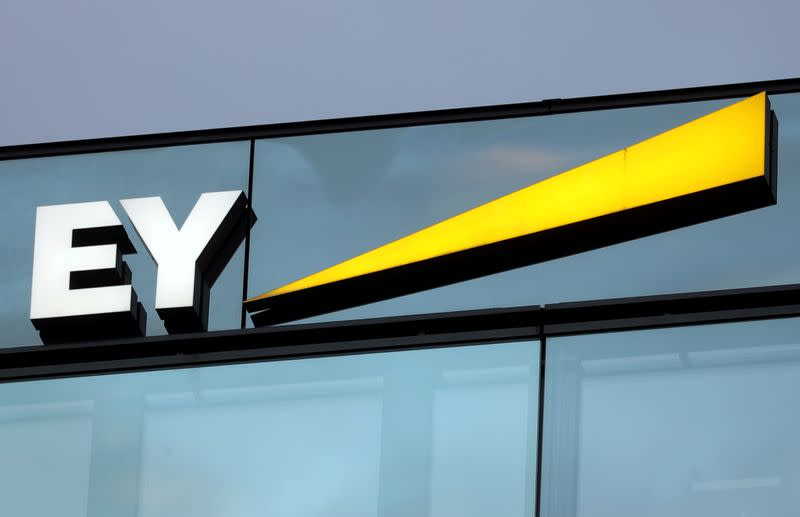FILE PHOTO: Logo of of Ernst & Young is seen in Zurich