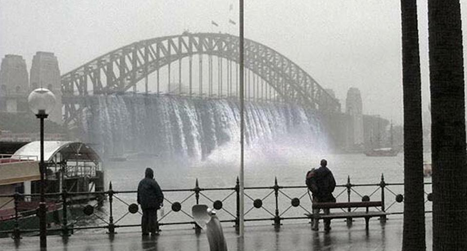 Pictured is a photoshopped image of a waterfall flowing from Sydney Harbour Bridge.