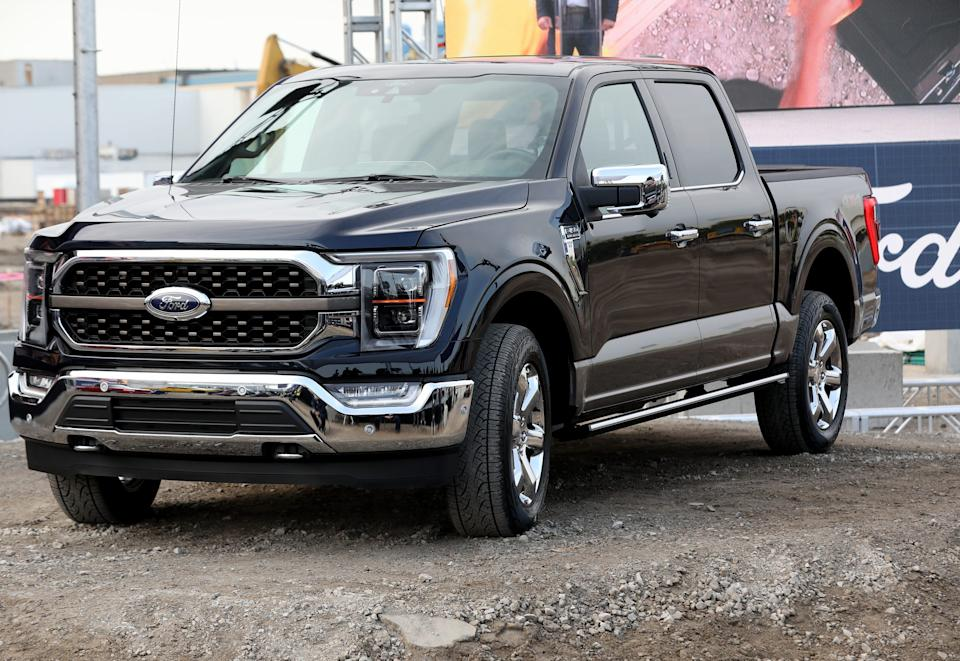 The 2021 Ford F-150 drives up during a press conference at the Dearborn Truck Plant in Dearborn on Thursday, Sept. 17, 2020.