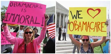 A combination file photo shows opponents (L) and supporters (R) of Affordable Healthcare Act rally on the sidewalk at the Supreme Court in Washington on March 28, 2012 and on June 28, 2012 respectively. REUTERS/Jonathan Ernst (L) and REUTERS/Joshua Roberts (R)