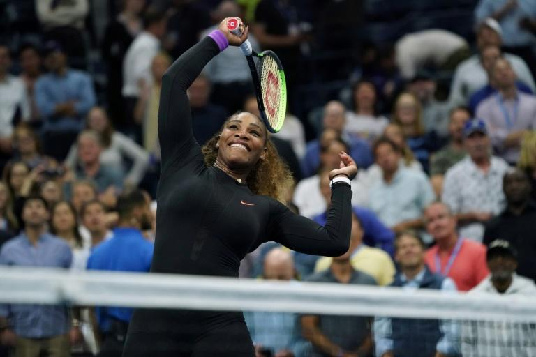 Serena Williams celebrates her US Open semi-final victory Thursday over Ukraine's Elina Svitolina