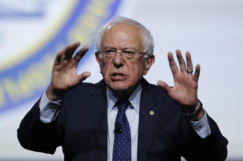 Bernie Sanders speaking at a candidates forum at the NAACP National Convention in Detroit Wednesday. (AP Photo/Carlos Osorio)