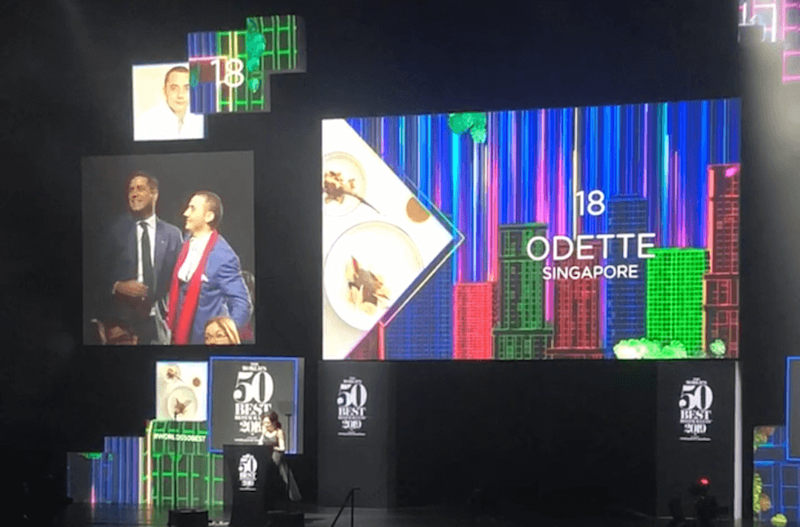 Chef Julien Royer of Odette at The World's 50 Best Restaurants 2019 ceremony. Photo: Coconuts Media