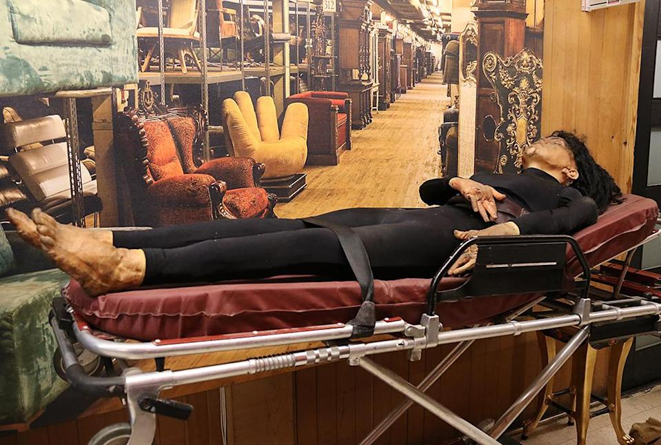 <p>A body from Steven Soderbergh's thriller is one of many unsettling objects populating the studio's Prop House, which will be open to visitors for the tour. (Photo: Angela Kim/Yahoo) </p>