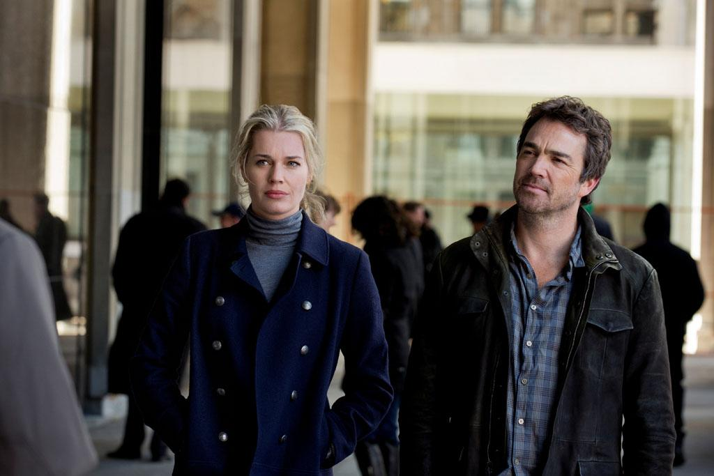 "Rebecca Romijn as Michelle Maxwell and Jon Tenney as Sean King in the series premiere of TNT's ""King & Maxwell."""
