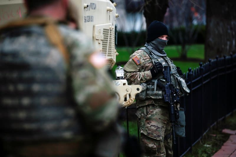 Members of the National Guard secure the area near the Capitol for possible protest ahead of U.S. President-elect Joe Biden's inauguration, in Washington