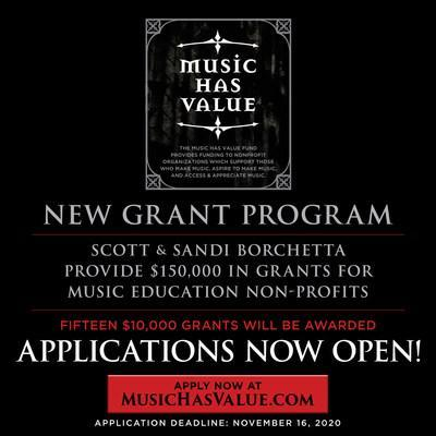 Big Machine Label Group's Scott and Sandi Borchetta to reward $150,000 in grants for music education non-profits. Eligible schools and organizations can apply now at MusicHasValue.com.