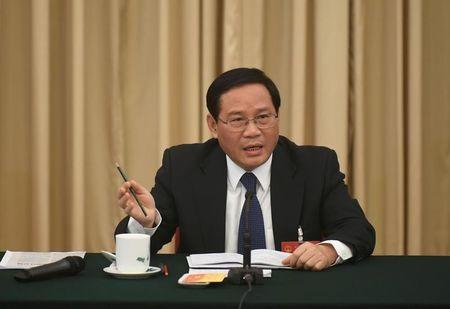 Li Qiang, Communist Party Secretary of Jiangsu, speaks during the Jiangsu delegations group discussion during the National People's Congress (NPC), in Beijing