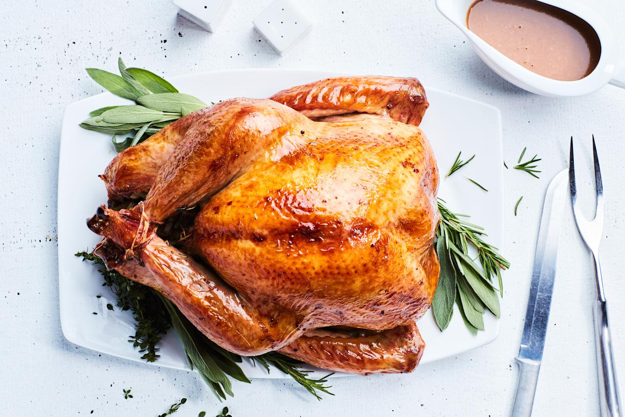 """Looking for a classic turkey with some added depth of flavor? This is the one for you. The meat tastes of sage, rosemary, and thyme. <a href=""""https://www.epicurious.com/recipes/food/views/salted-roast-turkey-with-herbs-and-shallot-dijon-gravy-350432?mbid=synd_yahoo_rss"""">See recipe.</a>"""