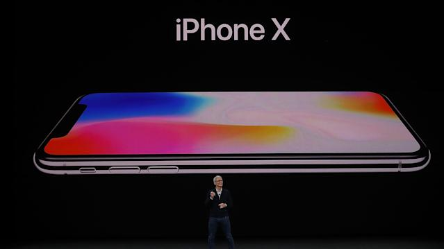 Tim Cook presents the iPhone X. (Getty Images)