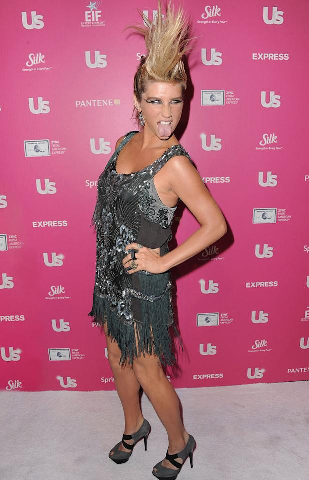 """Ke$ha sported a massive faux hawk at <i>Us Weekly</i>'s """"Stars Who Care"""" bash on Thursday night, held at the Colony Club in L.A. When asked about her crazy 'do, the """"Tik Tok"""" singer replied, """"Even when I do dress up it's never like a pretty girl. I think it's more interesting to have a little of your [own] style in anything."""" Jordan Strauss/<a href=""""http://www.wireimage.com"""" target=""""new"""">WireImage.com</a> - November 18, 2010"""