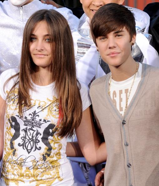 Paris Jackson with teen sensation Justin Beiber during a tribute to her late father.