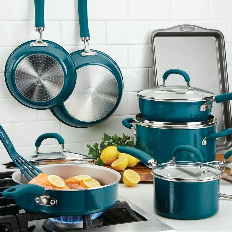 """<h2>Rachael Ray Create Delicious 13-Piece Aluminum Nonstick Cookware Set</h2><br><strong>Deal: 50% off</strong><br>We have no problem trusting television chef, Rachael Ray, when it comes to cookware sets. We also have no problem with them being on super sale for Way Day. <br><br><em>Shop</em> <a href=""""https://www.wayfair.com/brand/bnd/rachael-ray-b1119.html"""" rel=""""nofollow noopener"""" target=""""_blank"""" data-ylk=""""slk:Rachael Ray"""" class=""""link rapid-noclick-resp""""><strong><em>Rachael Ray</em></strong></a><br><br><strong>Rachael Ray</strong> 13-Piece Aluminum Nonstick Cookware Set, $, available at <a href=""""https://go.skimresources.com/?id=30283X879131&url=https%3A%2F%2Fwww.wayfair.com%2Fkitchen-tabletop%2Fpdp%2Frachael-ray-create-delicious-13-piece-aluminum-nonstick-cookware-set-meye1022.html"""" rel=""""nofollow noopener"""" target=""""_blank"""" data-ylk=""""slk:Wayfair"""" class=""""link rapid-noclick-resp"""">Wayfair</a>"""