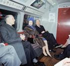 <p>She visits the tube again in 1969 (pictured here) for the opening of the Victoria Line.</p>