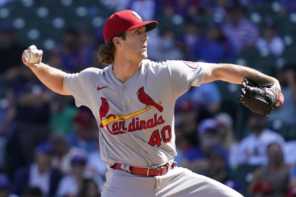 St. Louis Cardinals starting pitcher Jake Woodford throws against the Chicago Cubs during the first inning of a baseball game in Chicago, Sunday, Sept. 26, 2021. (AP Photo/Nam Y. Huh)