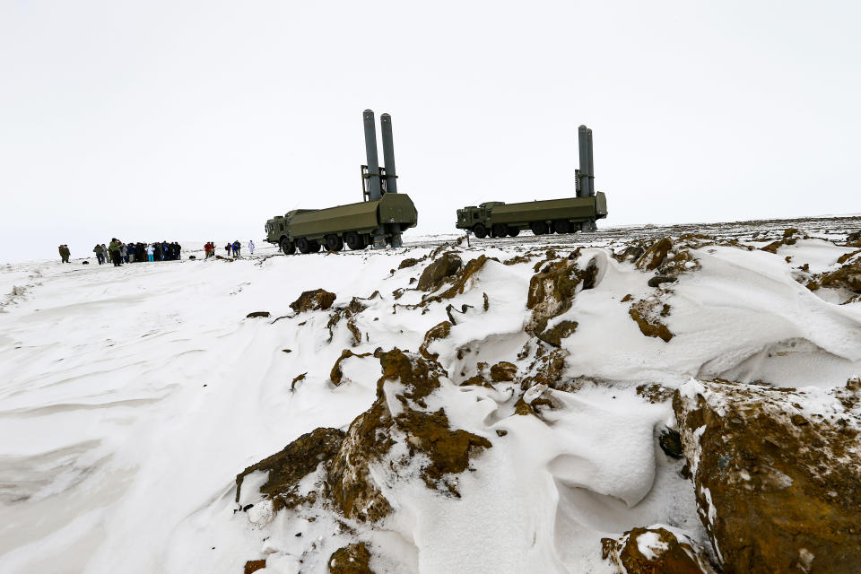 International journalists on a rare trip organized by Russian Defense Ministry watch as the Bastion anti-ship missile systems take positions on the Alexandra Land island near Nagurskoye, Russia, Monday, May 17, 2021. Bristling with missiles and radar, Russia's northernmost military base projects the country's power and influence across the Arctic from a remote, desolate island amid an intensifying international competition for the region's vast resources. Russia's northernmost military outpost sits on the 80th parallel North, projecting power over wide swathes of Arctic amid an intensifying international rivalry over the polar region's vast resources. (AP Photo/Alexander Zemlianichenko)