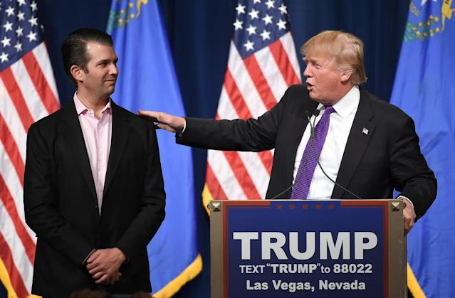 Donald Trump Jr. campaigned for his father in 2016. He's since said he wants to run for office himself. (Photo: Ethan Miller/Getty Images)