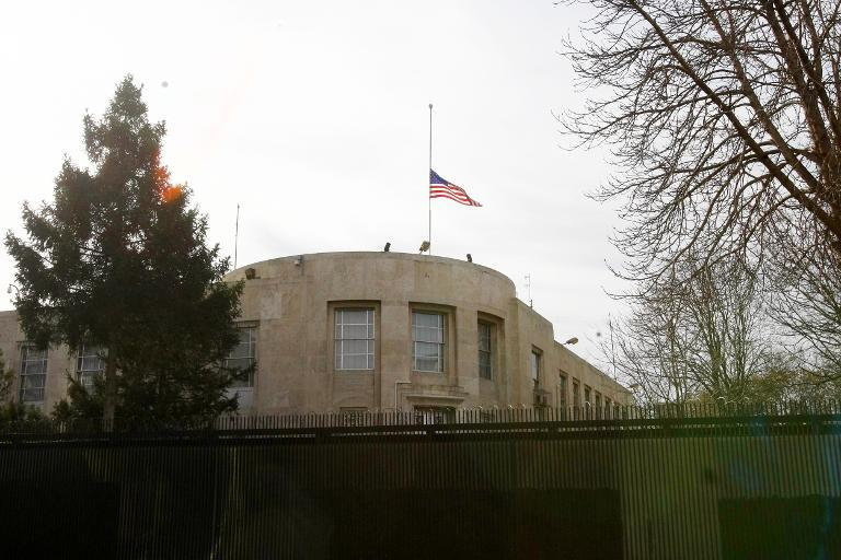 File photo shows the US national flag flying above the US Embassy in Ankara on February 2, 2013