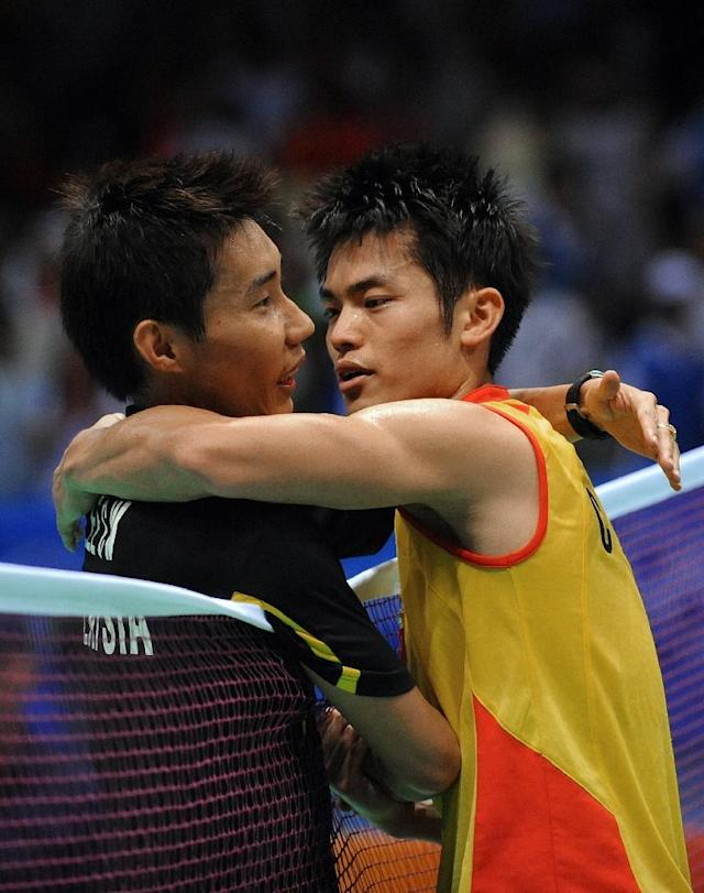 Lee Chong Wei (L) lost to China's Lin Dan in the Beijing 2008 Olympic final. (AFP Photo/GOH Chai Hin)