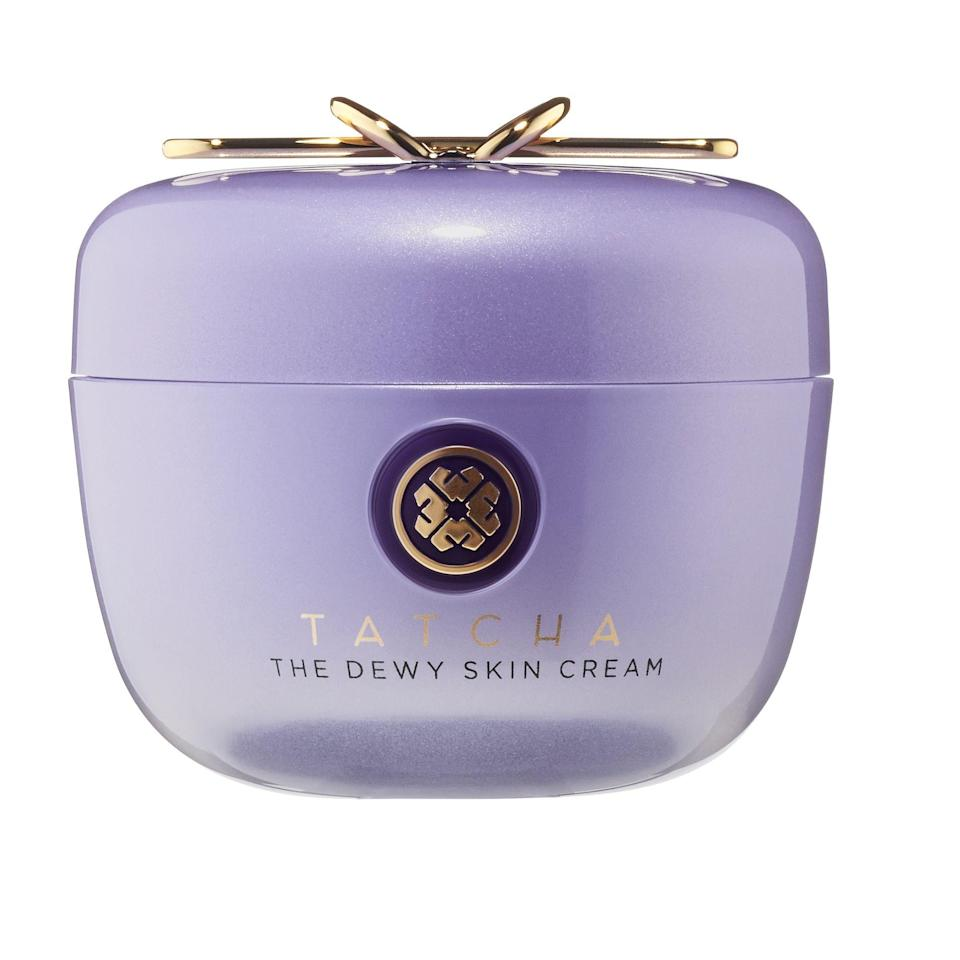 """<p><strong>Tatcha</strong></p><p>sephora.com</p><p><strong>$68.00</strong></p><p><a href=""""https://go.redirectingat.com?id=74968X1596630&url=https%3A%2F%2Fwww.sephora.com%2Fproduct%2Fthe-dewy-skin-cream-P441101&sref=https%3A%2F%2Fwww.thepioneerwoman.com%2Fbeauty%2Fskin-makeup-nails%2Fg33557607%2Fbest-moisturizer-for-dry-skin%2F"""" rel=""""nofollow noopener"""" target=""""_blank"""" data-ylk=""""slk:Shop Now"""" class=""""link rapid-noclick-resp"""">Shop Now</a></p><p>Beyond this moisturizer's ability to expertly hydrate skin with a blend of Okinawa algae, hyaluronic acid, and purple rice extract, the case will beautify your vanity too. Plus, the cream itself is a pretty purple color, so there's that. Oh, and don't forget that it's earned over 123,000 loves on Sephora!</p>"""
