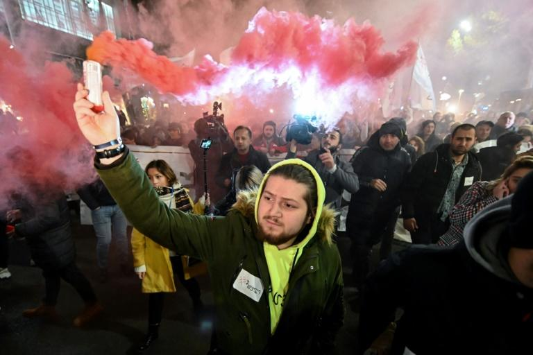 Up to 20,000 opposition supporters rallied in the Georgian capital Tbilisi on Monday, urging the government to resign