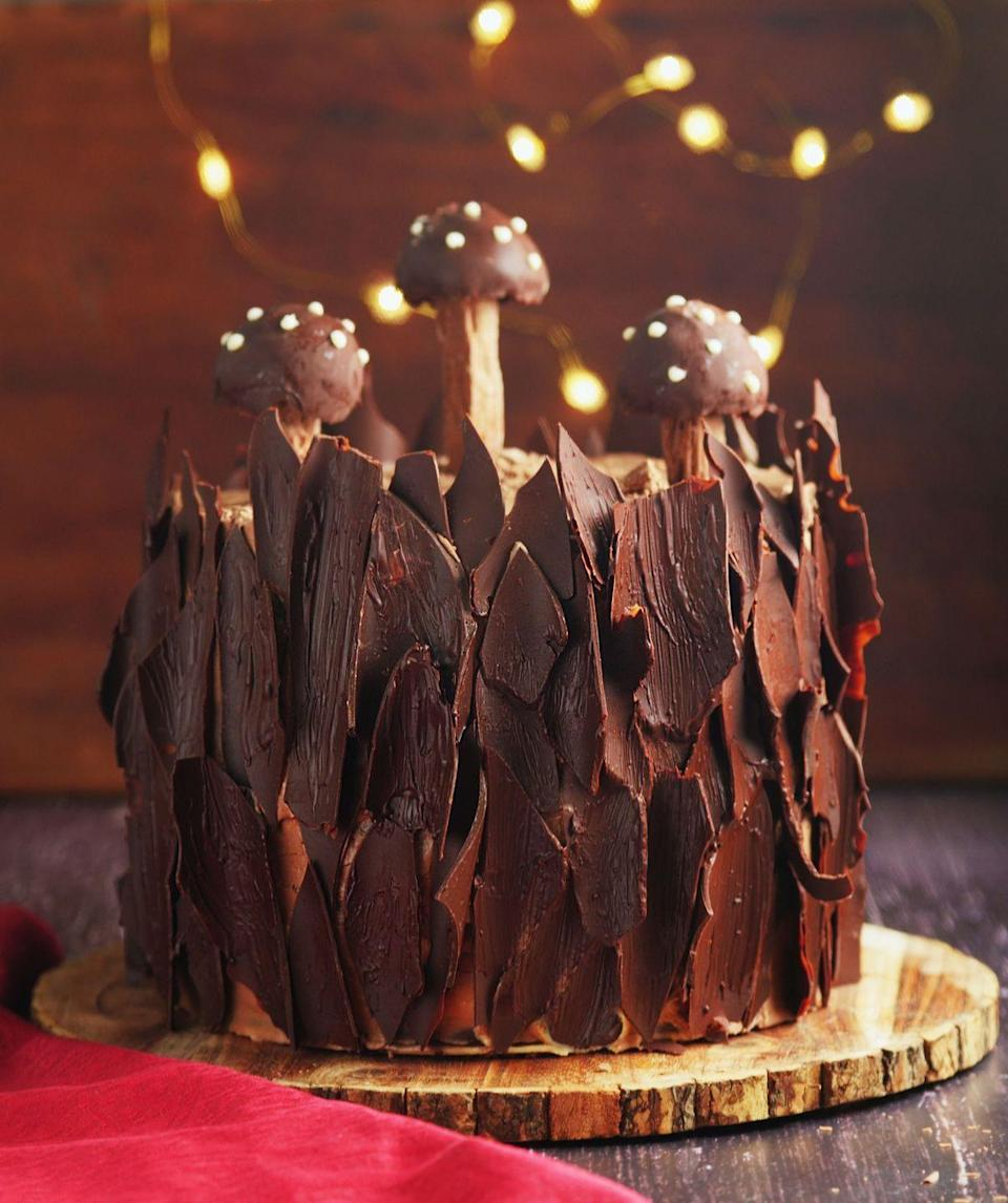 """<p>We've reinvented the yule log and created a salted chocolate yule stump.</p><p><strong>Recipe: <a href=""""https://www.goodhousekeeping.com/uk/food/recipes/a25304907/chocolate-yule-log-tree-stump/"""" rel=""""nofollow noopener"""" target=""""_blank"""" data-ylk=""""slk:Chocolate Yule log Tree Stump Cake"""" class=""""link rapid-noclick-resp"""">Chocolate Yule log Tree Stump Cake</a></strong></p>"""
