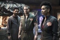 """<p><b>This Season's Theme: </b> """"Season 1 was lighting a lot of fuses,"""" says co-creator Mark Fergus, """"Season 2, you get to watch the payoff of all these things that have been set into motion."""" <br><br><b>Where We Left Off: </b> Eros was decimated by the protomolecule and the entire solar system was on the brink of war. <br><br><b>Coming Up: </b> Now that the stories of Avasarala (Shohreh Aghdashloo), Miller (Thomas Jane), and Holden (Steven Strait) have all converged, it's time to introduce the last main player in the brewing conflict: Mars. We'll learn what their objectives are and how they plan to achieve them. """"We're no longer holding mysteries back from the audience,"""" says Fergus, likening the measured pace of the first ten episodes to a Hitchcock thriller. """"Now is the time to really ratchet up and pay off all these promises we made to the audience."""" <br><br><i>— RC</i> <br><br>(Credit: Rafy/Syfy) </p>"""