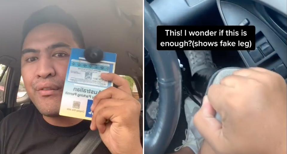 Pictured is Paniora Nukunuku with his disabled parking permit and a still from one of his TikTok videos showing his prosthetic leg.