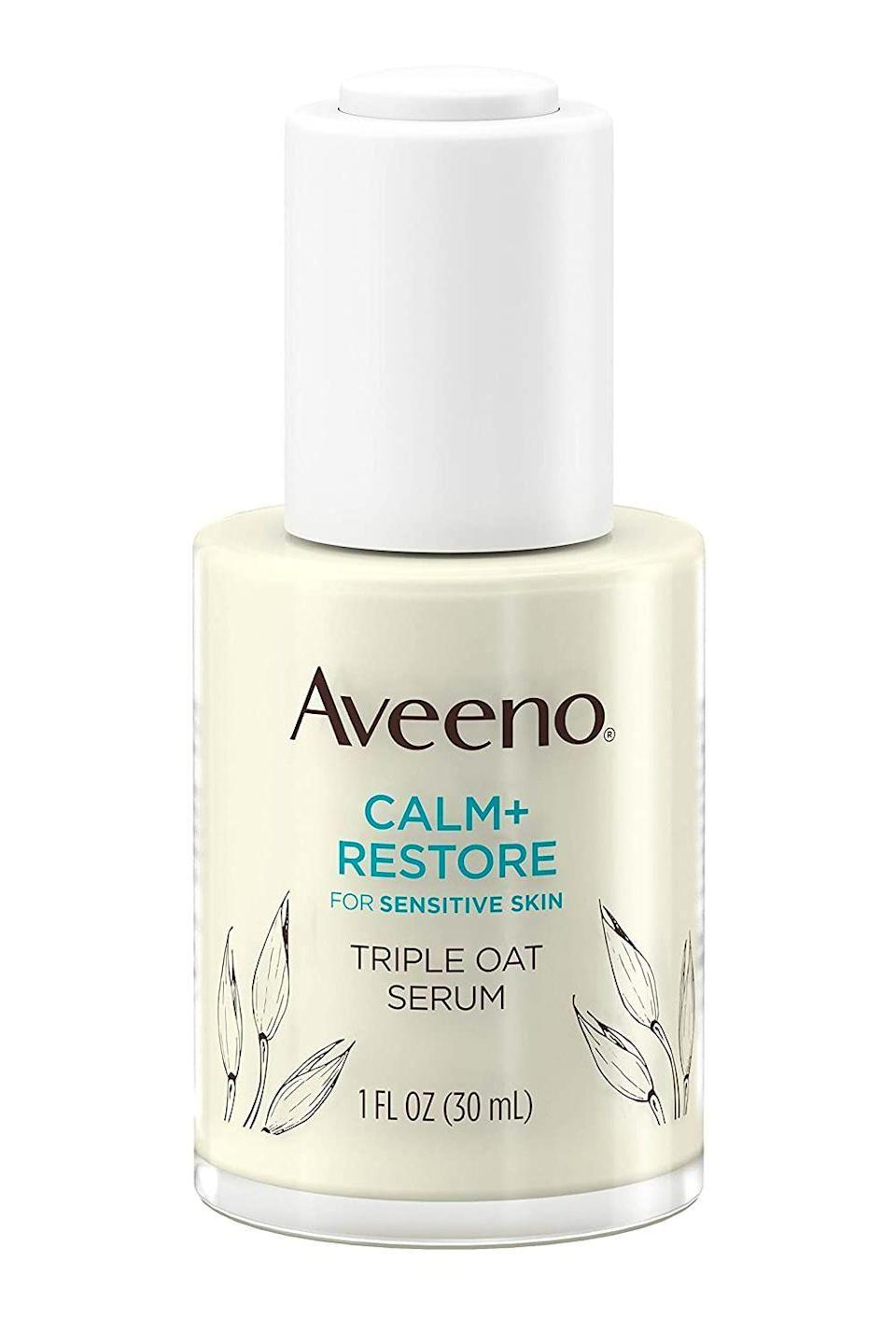 """<p><strong>Aveeno</strong></p><p>amazon.com</p><p><strong>$17.97</strong></p><p><a href=""""https://www.amazon.com/dp/B08D9MVRXT?tag=syn-yahoo-20&ascsubtag=%5Bartid%7C10049.g.35089763%5Bsrc%7Cyahoo-us"""" rel=""""nofollow noopener"""" target=""""_blank"""" data-ylk=""""slk:Shop Now"""" class=""""link rapid-noclick-resp"""">Shop Now</a></p><p>Designed for the most sensitive of skin types, this <a href=""""https://www.cosmopolitan.com/style-beauty/beauty/g29371741/best-drugstore-face-serum/"""" rel=""""nofollow noopener"""" target=""""_blank"""" data-ylk=""""slk:drugstore face serum"""" class=""""link rapid-noclick-resp"""">drugstore face serum </a>is<strong> free of potential irritants (like fragrance, alcohols, and dyes)</strong> and filled with a blend of prebiotics, oats, and feverfew extract to restore your skin's protective barrier, tone down redness, and eliminate dryness too.</p>"""